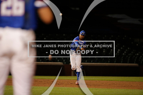 Rece Hinds (9) of Niceville High School in Niceville, Florida during the Under Armour All-American Game presented by Baseball Factory on July 29, 2017 at Wrigley Field in Chicago, Illinois.  (Mike Janes/Four Seam Images)