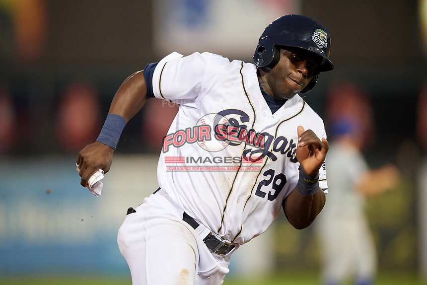 Kane County Cougars first baseman Yoel Yanqui (29) runs the bases during a game against the South Bend Cubs on July 23, 2018 at Northwestern Medicine Field in Geneva, Illinois.  Kane County defeated South Bend 8-5.  (Mike Janes/Four Seam Images)