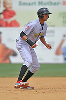 Aaron Altherr of the Reading Fightin Phils leads off second base during a game against the New Britain Rock Cats at New Britain Stadium on July 13, 2014 in New Britain, Connecticut. Reading defeated New Britain 6-4.  (Gregory Vasil/Four Seam Images)