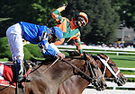 16 August 2008: Jockey Gabriel Saez celebrates his win aboard Proud Spell in the Alabama Stakes at Saratoga Race Course in Saratoga Springs, New York.  Proud Spell turned the tables on 2-5 favorite Music Note (1) to win the 128th running of the race.