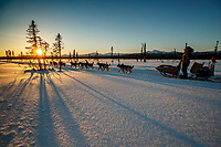 Jeff King runs on the trail between Kaltag and Unalakleet at sunset during the 2017 Iditarod on Sunday evening  March 12, 2017.<br /> <br /> Photo by Jeff Schultz/SchultzPhoto.com  (C) 2017  ALL RIGHTS RESERVED