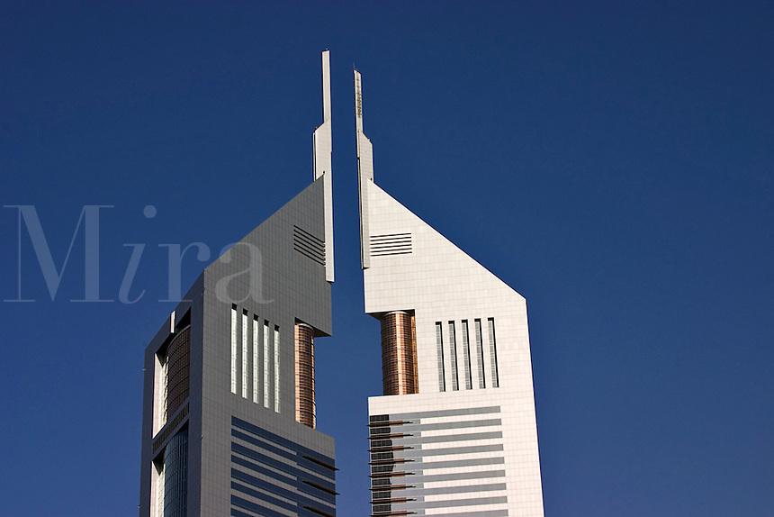 Dubai, United Arab Emirates.  Emirates Towers. Detail. Close up.  Modern office block and restaurants near Abu Dhabi Road..