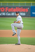 Sam Gaviglio (32) of the Tacoma Rainiers delivers a pitch to the plate against the Salt Lake Bees in Pacific Coast League action at Smith's Ballpark on May 7, 2015 in Salt Lake City, Utah.  (Stephen Smith/Four Seam Images)