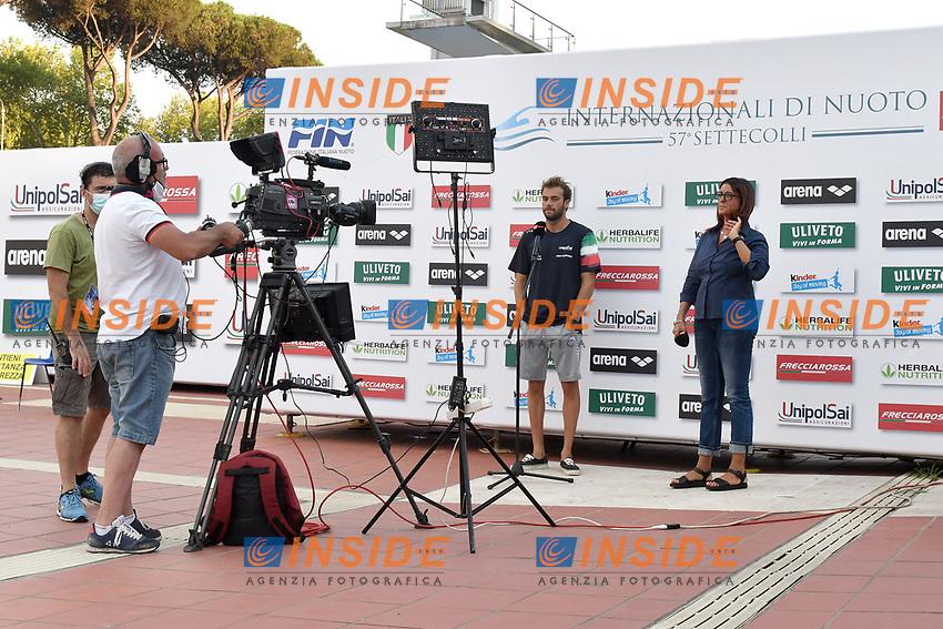PALTRINIERI Gregorio , Elisabetta Caporale <br /> intervista RAI <br /> <br /> Roma 11/08/2020 Foro Italico <br /> FIN 57 Trofeo Sette Colli 2020 Internazionali d'Italia<br /> Photo Andrea Staccioli/DBM/Insidefoto