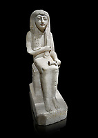 "Ancient Egyptian statue of Hel, limestone, New Kingdom, late 18th Dynasty, (1320-1280 BC), Saqqara. Egyptian Museum, Turin. black background.<br /> <br /> The women is seated on a cushioned stool. On her head is a lotus flower. In her left hand she holds a cloth in her right a counterweight for a meant necklace, a ritual instrument used in the cult of the goddess Hathor. the statue probably stood in a tomb in Saqqara necropolis of Memphis, where the Egyptian eletes of the time had splendid tombs with statues of s similar style. The inscription evokes the deceased ""everything that comes forth in the presence of the gods of Memphis for Osiris, the lady of Hel..."""