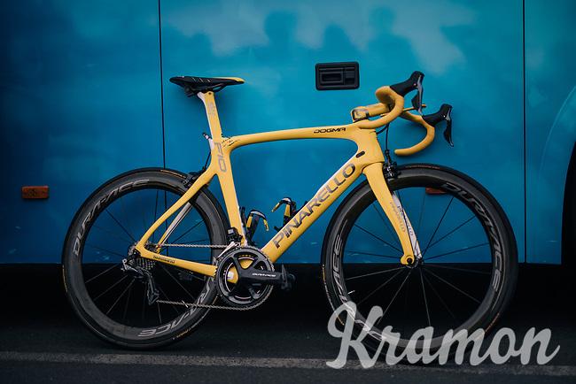 yellow jersey / GC leader Geraint Thomas' (GBR/SKY) customised Pinarello bike<br /> <br /> Stage 21: Houilles > Paris / Champs-Élysées (115km)<br /> <br /> 105th Tour de France 2018<br /> ©kramon