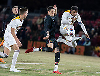 COLLEGE PARK, MD - NOVEMBER 21: Mlcolm Moreno #2 of Iona gets in front of William James Herve #8 of Maryland during a game between Iona College and University of Maryland at Ludwig Field on November 21, 2019 in College Park, Maryland.