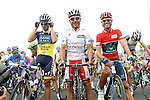 Alberto Contador (l), Joaquin Purito Rodriguez (c) and Alejandro Valverde during the stage of La Vuelta 2012 between Barakaldo and Valdezcaray.August 21,2012. (ALTERPHOTOS/Acero)