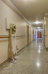 Long Hallway in 1927 Building with Halloween Ghost  Dating to 1927, the Masonic Retirement Center, locally known as the Masonic Home, in Des Moines, Washington is now an elegant event center available for rental.  In the historic Zenith neighborhood of the city of Des Moines. Please conact douglasorton@comcast.net regarding licensing of this image.