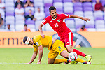Massimo Luongo of Australia (L) fights for the ball with Mousa Mohammad Suleiman of Jordan during the AFC Asian Cup UAE 2019 Group B match between Australia (AUS) and Jordan (JOR) at Hazza Bin Zayed Stadium on 06 January 2019 in Al Ain, United Arab Emirates. Photo by Marcio Rodrigo Machado / Power Sport Images