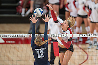 STANFORD, CA - September 5, 2014:  The Stanford Cardinal vs Penn State Nittany Lions  at Maples Pavilion in Stanford, CA. Stanford wins the match 3-2.