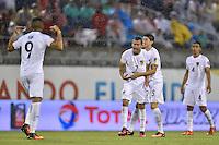 Orlando, FL - Monday June 06, 2016: Bolivia forward Juan Carlos Arce (7) celebrates scoring with teammates  during a Copa America Centenario Group D match between Panama (PAN) and Bolivia (BOL) at Camping World Stadium.
