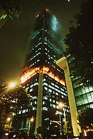 May 5, 1988 - Los Angeles, California - This Photo shows the First Interstate Bank Building early Thursday morning, May 5, 1988, as flames shoot from the windows of the 62 storey building. Fire officials described the blaze as one of the worst in the city's history. At last 30 poeple were injured and one was dead with eight rescued from the roof by helicopter. (Photo by Alan Greth)