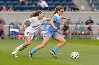 Chicago, IL - Saturday July 30, 2016: Erika Tymrak, Arin Gilliland during a regular season National Women's Soccer League (NWSL) match between the Chicago Red Stars and FC Kansas City at Toyota Park.