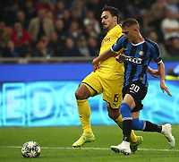 Football Soccer: UEFA Champions League -Group Stage- Group F Internazionale Milano vs Borussia Dortmund, Giuseppe Meazza stadium, October 23, 2019.<br /> Inter's Sebastiano Esposito (r) in action with Borussia Dortmund's captain Mats Hummels (l) during the Uefa Champions League football match between Internazionale Milano and Borussia Dortmund at Giuseppe Meazza (San Siro) stadium, on October 23, 2019.<br /> UPDATE IMAGES PRESS/Isabella Bonotto