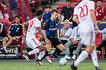 FC Internazionale Forward Ivan Perisic (C) in action against Bayern Munich Forward Kingsley Coman (L) during the International Champions Cup match between FC Bayern and FC Internazionale at National Stadium on July 27, 2017 in Singapore. Photo by Marcio Rodrigo Machado / Power Sport Images