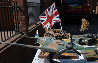 Model of a  WW2 Spitfire in Sidcup, Kent, England 8th May 2020. Victory in Europe (VE) 75th Anniversary Celebrations during the UK Lockdown due to the Coronavirus pandemic. Photo by Alan Stanford / PRiME Media Images