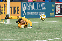 FOXBOROUGH, MA - SEPTEMBER 29: Matt Turner #30 of New England Revolution dives to save a goal during a game between New York City FC and New England Revolution at Gillettes Stadium on September 29, 2019 in Foxborough, Massachusetts.