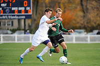 Matt Beverin (19) of the Monmouth Hawks and Andrew Olsen (7) of the Dartmouth Big Green battle for the ball. . Dartmouth defeated Monmouth 4-0 during the first round of the 2010 NCAA Division 1 Men's Soccer Championship on the Great Lawn of Monmouth University in West Long Branch, NJ, on November 18, 2010.