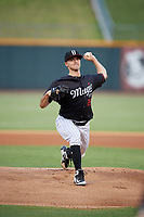 Birmingham Barons starting pitcher Ian Clarkin (28) delivers a pitch during a game against the Tennessee Smokies on August 16, 2018 at Regions FIeld in Birmingham, Alabama.  Tennessee defeated Birmingham 11-1.  (Mike Janes/Four Seam Images)