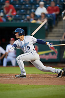 Corpus Christi Hooks center fielder Ramon Laureano (9) at bat during a game against the Springfield Cardinals on May 31, 2017 at Hammons Field in Springfield, Missouri.  Springfield defeated Corpus Christi 5-4.  (Mike Janes/Four Seam Images)