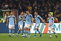 Football, Serie A: AS Roma - S.S. Lazio, Olympic stadium, Rome, January 26, 2020. <br /> Lazio's Francesco Acerbi (c) celebrates after scoring with his teammates during the Italian Serie A football match between Roma and Lazio at Olympic stadium in Rome, on January,  26, 2020. <br /> UPDATE IMAGES PRESS/Isabella Bonotto