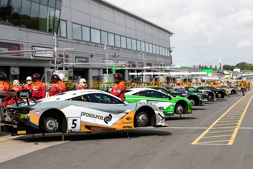 A view through the pit lane prior to the warm up session during the British GT & F3 Championship on 11th July 2021