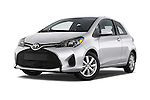 Stock pictures of low aggressive front three quarter view of a 2015 Toyota Yaris LE 3-Door Liftback AT 3 Door Hatchback Low Aggressive