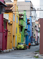 Ipoh, Malaysia.  Street Scene Showing Multicolored Houses.
