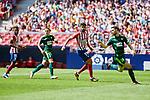Atletico de Madrid's Thomas Lemar (L) and Diego Costa (R) and SD Eibar's Ruben Pena (L) and Asier Riesgo (R)r during La Liga match. September 15, 2018. (ALTERPHOTOS/A. Perez Meca)