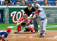 4 July 2009: Atlanta Braves' shortstop Yunel Escobar in action against the Washington Nationals at Nationals Park in Washington, DC. The Nationals defeated the Braves 5-3 to take the second game of the 3-game weekend series. Mandatory Credit: Ed Wolfstein Photo