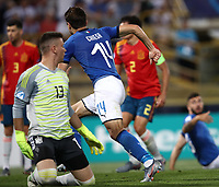 Football: Uefa European under 21 Championship 2019, Italy - Spain Renato Dall'Ara stadium Bologna Italy on June16, 2019.<br /> Italy's Federico Chiesa (r) celebrates after scoring his second goal in theUefa European under 21 Championship 2019 football match between Italy and Spain at Renato Dall'Ara stadium in Bologna, Italy on June16, 2019.<br /> UPDATE IMAGES PRESS/Isabella Bonotto