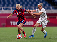 SAITAMA, JAPAN - JULY 24: Lindsey Horan #9 of the USWNT dribbles during a game between New Zealand and USWNT at Saitama Stadium on July 24, 2021 in Saitama, Japan.
