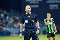 KANSAS CITY, KS - MAY 9: Referee Ted Unkel during a game between Austin FC and Sporting Kansas City at Children's Mercy Park on May 9, 2021 in Kansas City, Kansas.