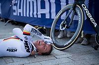 Lisa Brennauer (DEU/Ceratizit-WNT) after finishing<br /> <br /> Women Elite Individual Time Trial from Knokke-Heist to Bruges (30.3 km)<br /> <br /> UCI Road World Championships - Flanders Belgium 2021<br /> <br /> ©kramon