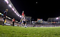 Chivas USA defender Carey Talley takes a corner kick as assistant ref Cory Rockwell observes. The LA Galaxy defeated Chivas USA 1-0 to win the final edition of the 2009 SuperClásico at Home Depot Center stadium in Carson, California on Saturday, August 29, 2009...