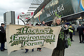Local residents opposed to London's bid to host the 2012 Olympic Games protest outside Stratford station.