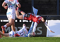 26th March 2021; Kingsholm Stadium, Gloucester, Gloucestershire, England; English Premiership Rugby, Gloucester versus Exeter Chiefs; Jonny May of Gloucester's try is disallowed as he put a foot in touch