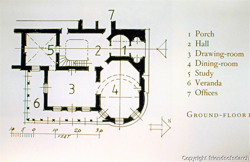 Cronkhill: 1st floor Plan. Shropshire, England. Designed by John Nash in Italianate style.