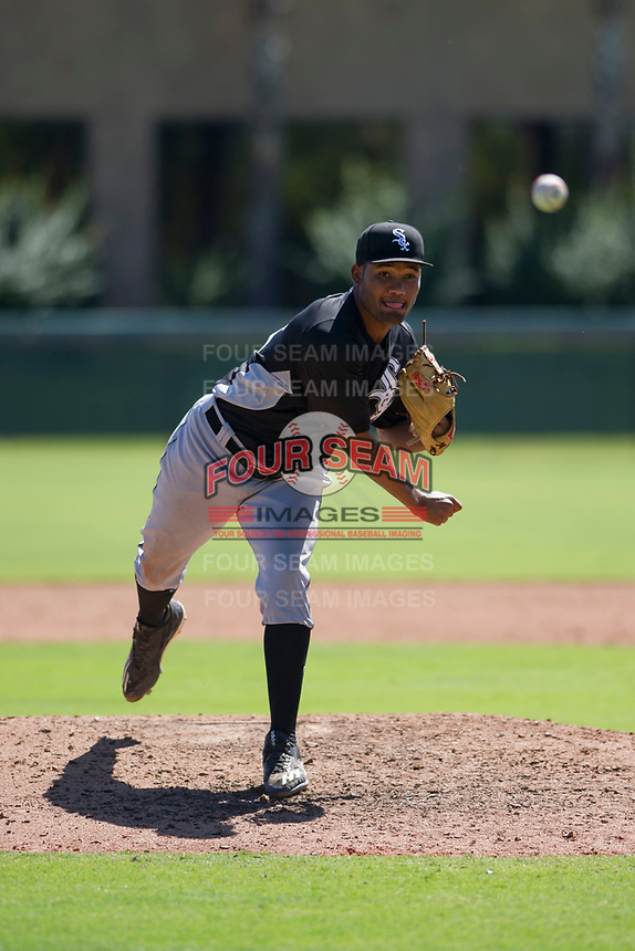Chicago White Sox pitcher Bryan Saucedo (55) follows through on his delivery during an Instructional League game against the Los Angeles Dodgers on September 30, 2017 at Camelback Ranch in Glendale, Arizona. (Zachary Lucy/Four Seam Images)