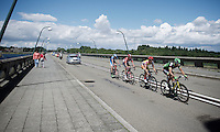breakaway group on the bridge over the Lacs de l'eau d'Heure<br /> <br /> Tour de Wallonie 2015<br /> stage 5: Chimay - Thuin (167km)