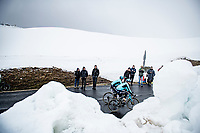 Vadim Pronskiy (KAZ/Astana - Premier Tech) & Matteo Sobrero (ITA/Astana - Premier Tech) coming over the Passo Giau<br /> <br /> due to the bad weather conditions the stage was shortened (on the raceday) to 153km and the Passo Giau became this years Cima Coppi (highest point of the Giro).<br /> <br /> 104th Giro d'Italia 2021 (2.UWT)<br /> Stage 16 from Sacile to Cortina d'Ampezzo (shortened from 212km to 153km)<br /> <br /> ©kramon