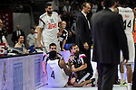 Real Madrid´s Kelvin Rivers was injured during 2014-15 Liga Endesa match between Real Madrid and Unicaja at Palacio de los Deportes stadium in Madrid, Spain. April 30, 2015. (ALTERPHOTOS/Luis Fernandez)