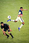 Sebastian Caceres of Club America (MEX) and Carlos Vela of Los Angeles FC (USA)  in action during their CONCACAF Champions League Semi Finals match at the Orlando's Exploria Stadium on 19 December 2020, in Florida, USA. Photo by Victor Fraile / Power Sport Images