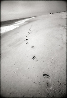 Footprints on beach<br />