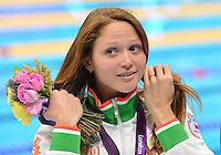 August 04, 2012..Aliaksandra Herasimenia at the Aquatics Center on day eight of 2012 Olympic Games in London, United Kingdom.