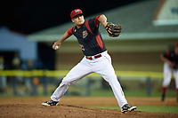 Batavia Muckdogs relief pitcher Brent Wheatley (23) delivers a pitch during a game against the West Virginia Black Bears on June 26, 2017 at Dwyer Stadium in Batavia, New York.  Batavia defeated West Virginia 1-0 in ten innings.  (Mike Janes/Four Seam Images)