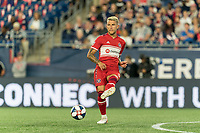 FOXBOROUGH, MA - AUGUST 24: Francisco Calvo #5 of Chicago Fire passes the ball during a game between Chicago Fire and New England Revolution at Gillette Stadium on August 24, 2019 in Foxborough, Massachusetts.