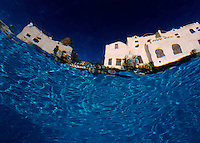 Blurred view of a hotel from underwater, Egypt.
