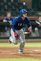 AZL Rangers catcher David Garcia (9) jogs down the first base line after hitting a home run during an Arizona League game against the AZL Giants Black at Scottsdale Stadium on August 4, 2018 in Scottsdale, Arizona. The AZL Giants Black defeated the AZL Rangers by a score of 6-3 in the second game of a doubleheader. (Zachary Lucy/Four Seam Images)